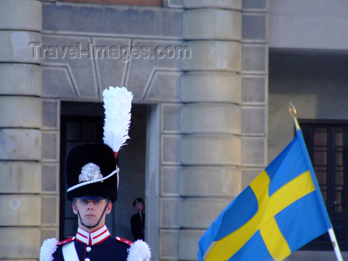 sweden69: Sweden - Stockholm: soldier and Swedish flag at the Royal Palace - guard (photo by M.Bergsma) - (c) Travel-Images.com - Stock Photography agency - Image Bank