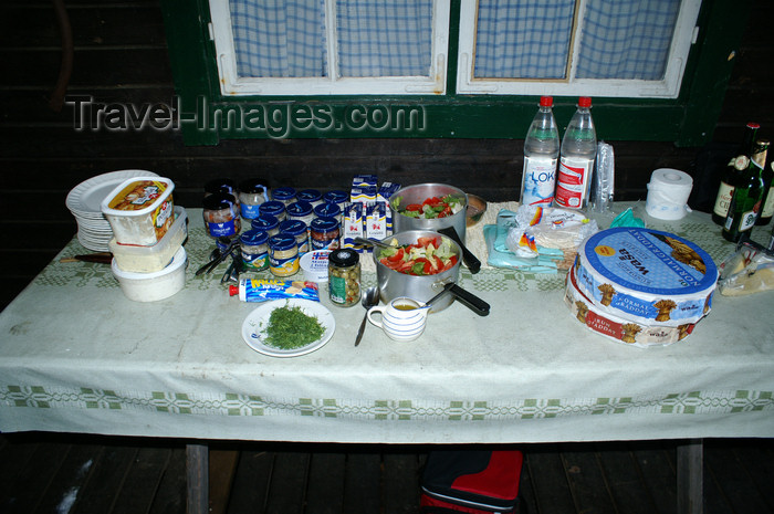 sweden72: Älvdalen, Dalarnas län, Sweden: Swedish Midsummer table: potatoes, herring, salad and hard bread - photo by A.Ferrari - (c) Travel-Images.com - Stock Photography agency - Image Bank