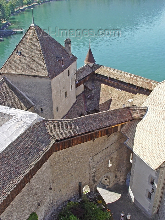 switz179: Switzerland - Suisse - Montreux: Chateau de Chillon - from the tower (photo by Christian Roux) - (c) Travel-Images.com - Stock Photography agency - Image Bank