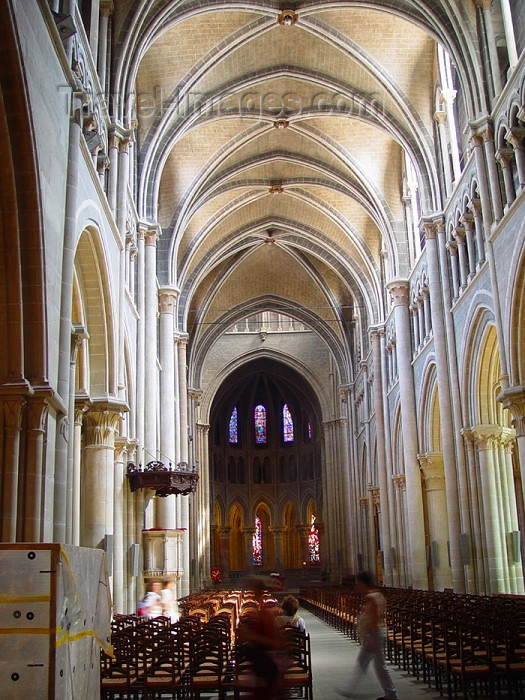 switz185: Switzerland - Suisse - Lausanne: in Notre-Dame Cathedral - nave - photo by C.Roux - (c) Travel-Images.com - Stock Photography agency - Image Bank