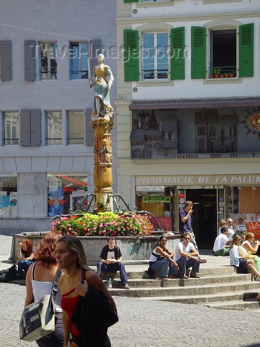 switz195: Switzerland - Suisse - Lausanne: Palud square and Mechanical clock / place de la Palud et l'Horloge - photo by C.Roux - (c) Travel-Images.com - Stock Photography agency - Image Bank