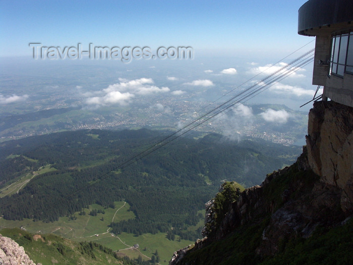 switz271: Switzerland / Suisse / Schweiz / Svizzera - Mt Pilatus: view from the summit - cables from the cablecar - kulm sur l'autre versant, les fils du télépherice - photo by C.Roux - (c) Travel-Images.com - Stock Photography agency - Image Bank