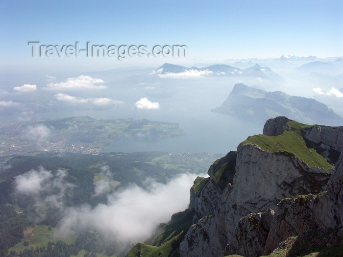 switz272: Switzerland / Suisse / Schweiz / Svizzera - Mt Pilatus: view from the summit toward Luzern / kulm vue sur lucerne-luzern - photo by C.Roux - (c) Travel-Images.com - Stock Photography agency - Image Bank