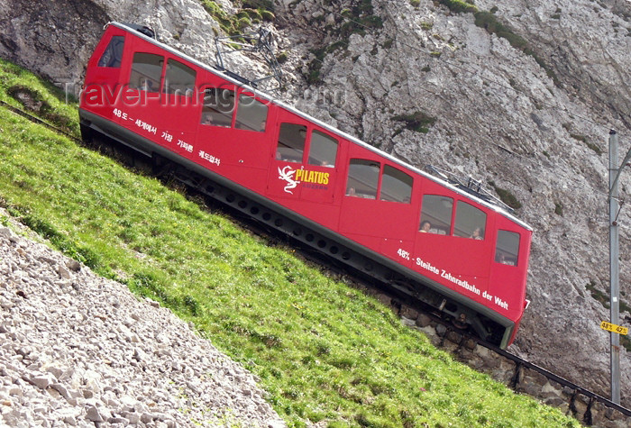 switz276: Switzerland / Suisse / Schweiz / Svizzera - Mt Pilatus (Unterwalden - Obwalden split Kanton): steepest rack-and-pinion railway in the world - train on a mountain slope / le train à crémaillère monte sur une pente / Steilste Zahnradbahn der Welt - photo by C.Roux - (c) Travel-Images.com - Stock Photography agency - Image Bank
