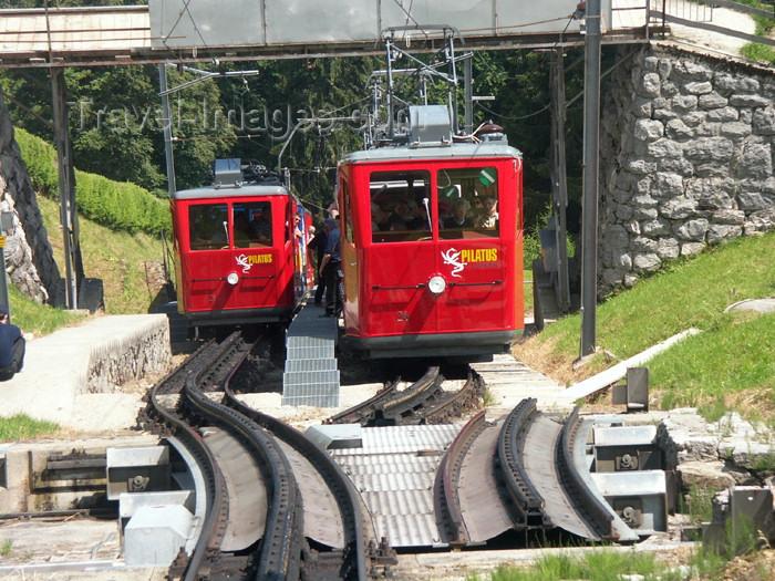 switz279: Switzerland / Suisse / Schweiz / Svizzera - Mt Pilatus (Unterwalden - Obwalden half Kanton): trains at the midway station - Cog railway / station intermédiaire - photo by C.Roux - (c) Travel-Images.com - Stock Photography agency - Image Bank