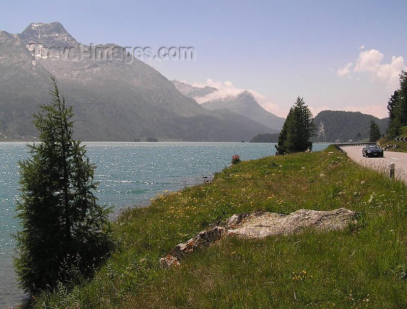 switz327: Switzerland - Maloja / Maloggia - Graubünden / Grigioni canton - road along Lake Silvaplana - Engadine valley / Silvaplanersee - photo by J.Kaman - (c) Travel-Images.com - Stock Photography agency - Image Bank
