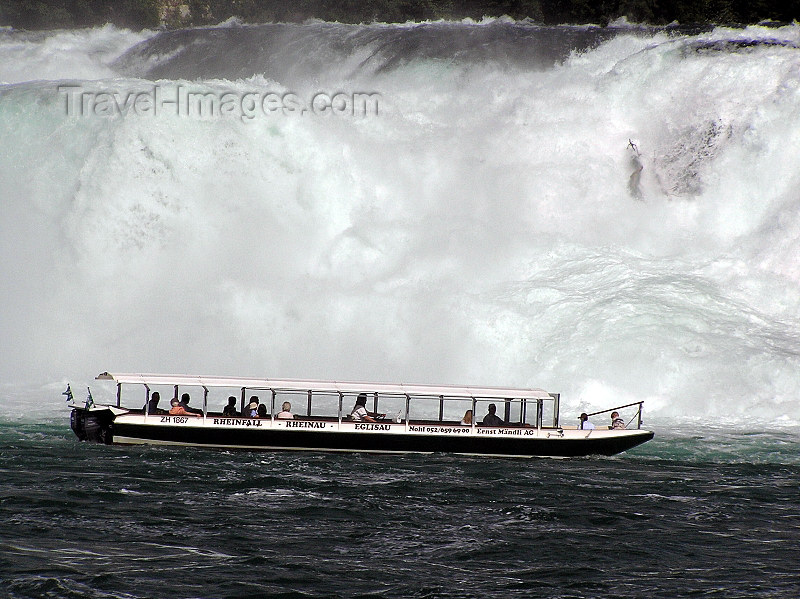 switz336: Switzerland - Neuhausen am Rheinfall - Schaffhausen canton - boat at the waterfalls - Rheinfall - photo by J.Kaman - (c) Travel-Images.com - Stock Photography agency - Image Bank