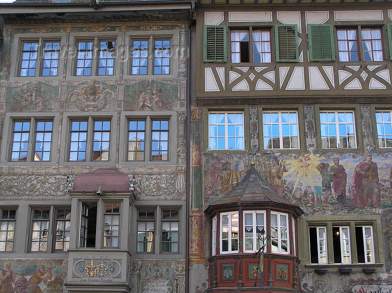 switz341: Switzerland - Stein am Rhein - canton of Schaffhausen: Vordere Krone, left, and Gasthof zur Sonne - mural paintings and gazebos in the medieval centre - photo by J.Kaman - (c) Travel-Images.com - Stock Photography agency - Image Bank