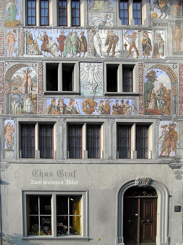 switz343: Switzerland - Stein am Rhein - canton of Schaffhausen: Weisser Adler (White Eagle) - mural - paintings on the façade - photo by J.Kaman - (c) Travel-Images.com - Stock Photography agency - Image Bank