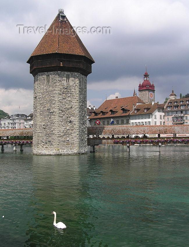 switz354: Switzerland - Luzern / Lucerne: Water tower and Chapel bridge - photo by J.Kaman - (c) Travel-Images.com - Stock Photography agency - Image Bank