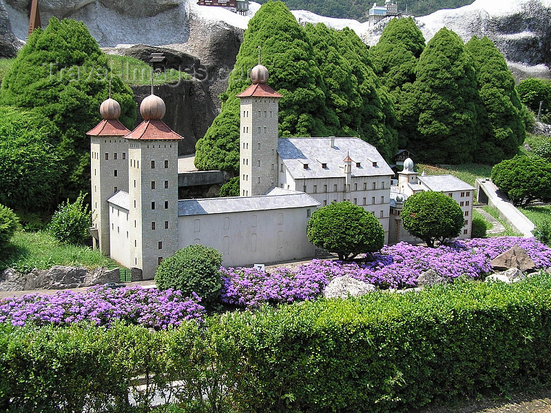 switz361: Switzerland - Melide, canton of Ticino: Swissminiatur - Stockalper castle in Brigue - 1:25 scale model - photo by J.Kaman - (c) Travel-Images.com - Stock Photography agency - Image Bank