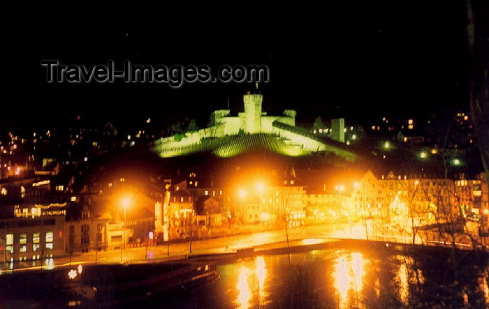 switz55: Switzerland / Suisse / Schweiz / Svizzera - Schaffhausen: the castle and the Rhine at night (photo by Miguel Torres) - (c) Travel-Images.com - Stock Photography agency - Image Bank