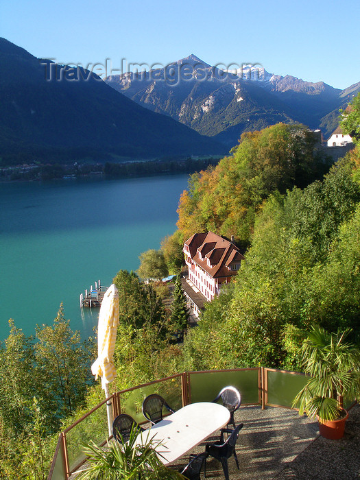 switz65: Ringgenberg, district of Interlaken, Berner Oberland, Switzerland: view from above on  coffee shop table next to Brienz lake with mountains on the background - photo by E.Keren - (c) Travel-Images.com - Stock Photography agency - Image Bank