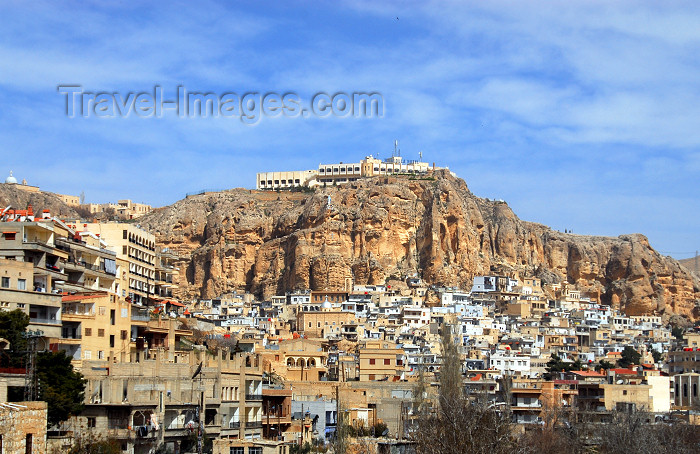 syria113: Syria - Maalula: the town - where Aramaic, the language of Christ, is still spoken - Hotel Maaloula on the top of the cliff - photographer: M.Torres - (c) Travel-Images.com - Stock Photography agency - Image Bank