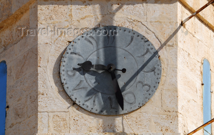 syria118: Seydnaya, Syria: Orthodox Nunnery - clock with Indian Arabic numerals - clock tower - photographer: M.Torres - (c) Travel-Images.com - Stock Photography agency - Image Bank