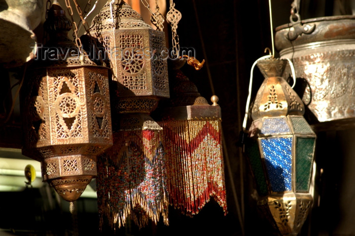 syria131: Damascus, Syria: lamps and lanterns for sale - old city - photographer: John Wreford - (c) Travel-Images.com - Stock Photography agency - Image Bank