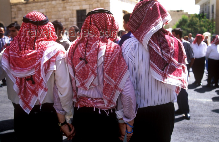 syria182: Syria - Maalula: dancing - men with Shemagh head scarf - photographer: J.Wreford - (c) Travel-Images.com - Stock Photography agency - Image Bank