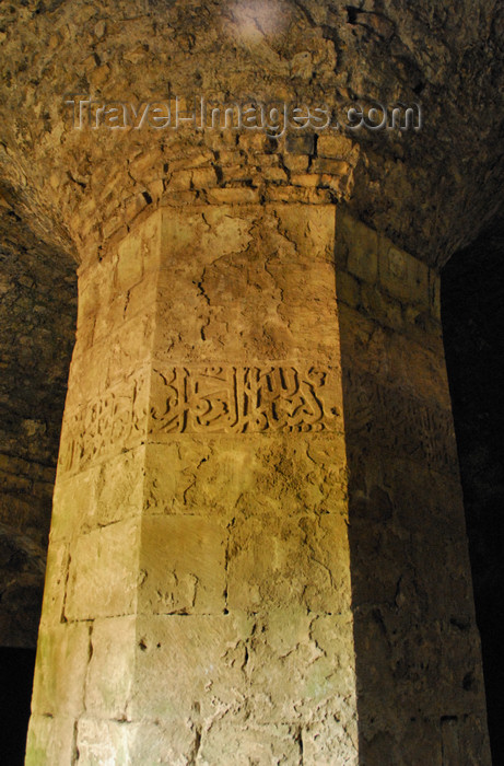 syria204: Crac des Chevaliers / Hisn al-Akrad, Al Hosn, Homs Governorate, Syria: column with Arabic inscription - UNESCO World Heritage Site - photo by M.Torres /Travel-Images.com - (c) Travel-Images.com - Stock Photography agency - Image Bank
