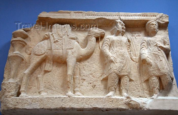 syria221: Palmyra / Tadmor, Homs governorate, Syria: Palmyra Museum - caravan - camel and merchants - Bas-relief - photo by M.Torres / Travel-Images.com - (c) Travel-Images.com - Stock Photography agency - Image Bank