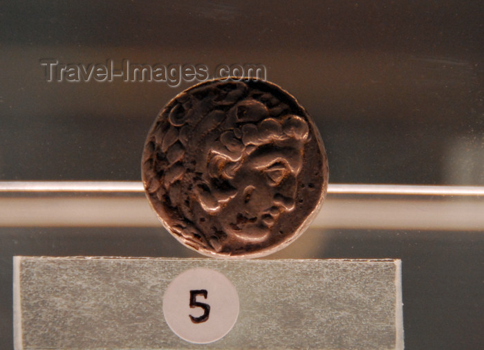 syria223: Palmyra / Tadmor, Homs governorate, Syria: Palmyra Museum - Alexander the Great - coin - photo by M.Torres / Travel-Images.com - (c) Travel-Images.com - Stock Photography agency - Image Bank