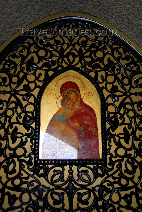 syria53: Syria - Seidnaya: icon at the monastery - the Virgin with baby Jesus - undergoing restauration - photo by M.Torres - (c) Travel-Images.com - Stock Photography agency - Image Bank