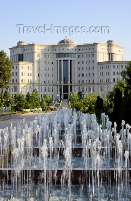 tajikistan12: Dushanbe, Tajikistan: building of the National Library, fountains of Rudaki park in the foreground - photo by M.Torres - (c) Travel-Images.com - Stock Photography agency - Image Bank