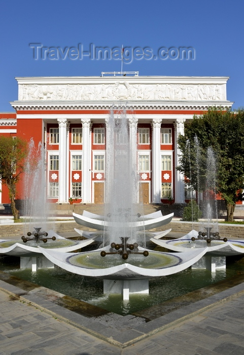 tajikistan3: Dushanbe, Tajikistan: fountain and parliament of Tajikistan building, Dusti square - Supreme Assembly (Majlisi Oli) - Soviet architecture - photo by M.Torres - (c) Travel-Images.com - Stock Photography agency - Image Bank