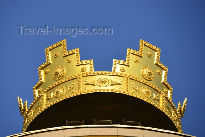 tajikistan5: Dushanbe, Tajikistan: golden crown atop the Ismoil Somoni monument - Tajikistan is said get its name from 'taj', the Persian word for crown - photo by M.Torres - (c) Travel-Images.com - Stock Photography agency - Image Bank