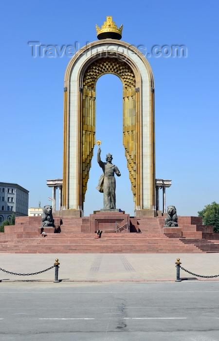 tajikistan51: Dushanbe, Tajikistan: Ismoil Somoni statue on Dusti square, aka Isma'il ibn Ahmad - he built the Samanid Empire - photo by M.Torres - (c) Travel-Images.com - Stock Photography agency - Image Bank