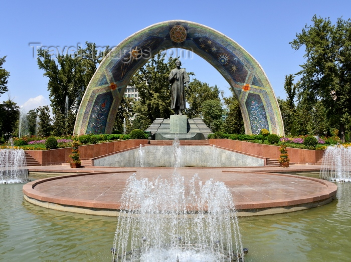 tajikistan54: Dushanbe, Tajikistan: fountains and Rudaki monument on Rudaki park - 9th century poet, founder of Persian classical literature - photo by M.Torres - (c) Travel-Images.com - Stock Photography agency - Image Bank