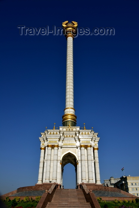 tajikistan7: Dushanbe, Tajikistan: the Parchan column, bearing the Tajikistani national emblem / coat of arms - seen against blue sky - photo by M.Torres - (c) Travel-Images.com - Stock Photography agency - Image Bank