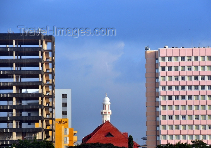 tanzania216: Dar es Salaam, Tanzania: TTCL Headquarters Extelecoms House, Heritage Motel and the minaret of the Friday Mosque - central business district - view from the waterfront - photo by M.Torres - (c) Travel-Images.com - Stock Photography agency - Image Bank