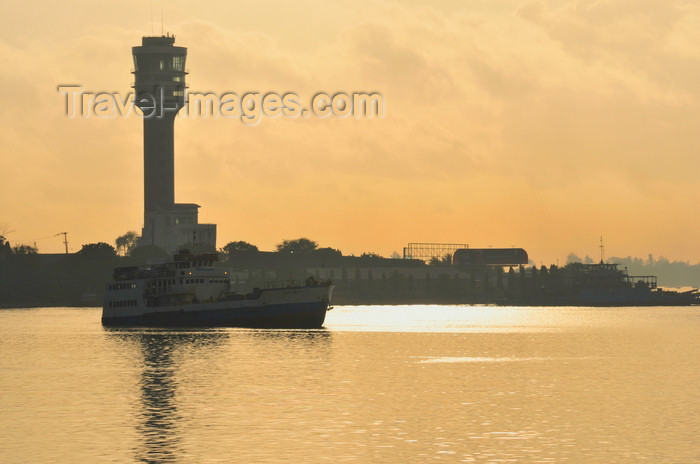 tanzania217: Dar es Salaam, Tanzania: ferry and harbour tower - Kivukoni front at sunrise - photo by M.Torres - (c) Travel-Images.com - Stock Photography agency - Image Bank
