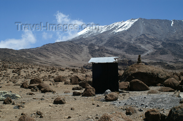 tanzania63: Tanzania - Kilimanjaro NP: Marangu Route - day 4 - Mount Kilimanjaro, toilet stop with a view on Kibo - photo by A.Ferrari - (c) Travel-Images.com - Stock Photography agency - Image Bank