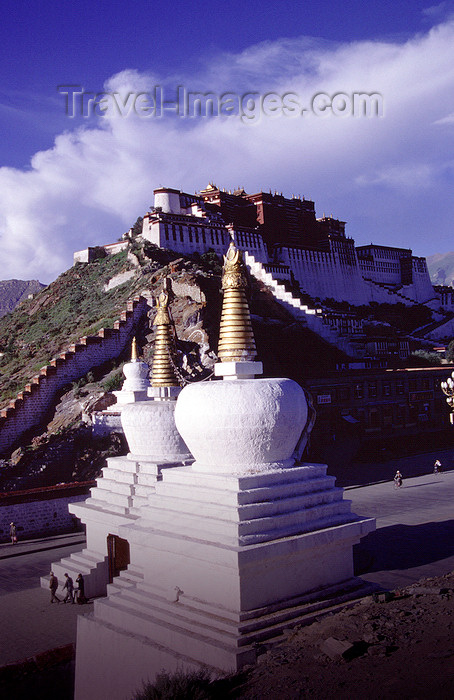 tibet72: Lhasa, Tibet: chortens and Potala Palace - photo by Y.Xu - (c) Travel-Images.com - Stock Photography agency - Image Bank
