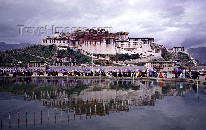 tibet80: Lhasa, Tibet: Potala Palace - reflected on fountain - photo by Y.Xu - (c) Travel-Images.com - Stock Photography agency - Image Bank