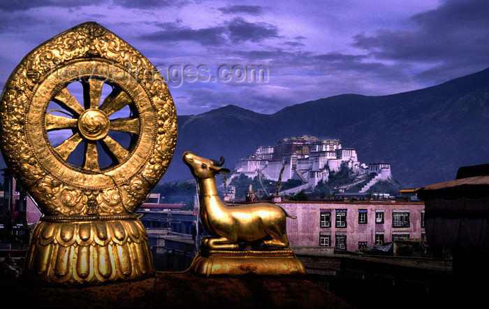 tibet84: Lhasa, Tibet: Potala Palace seen from Jokhang Monastery - Dharmachakra wheel with flanking deer, the eight spokes represent the Noble Eightfold Path of Buddhism and the deer recalls Buddha's first sermon in Sarnath Deer Park - photo by Y.Xu - (c) Travel-Images.com - Stock Photography agency - Image Bank