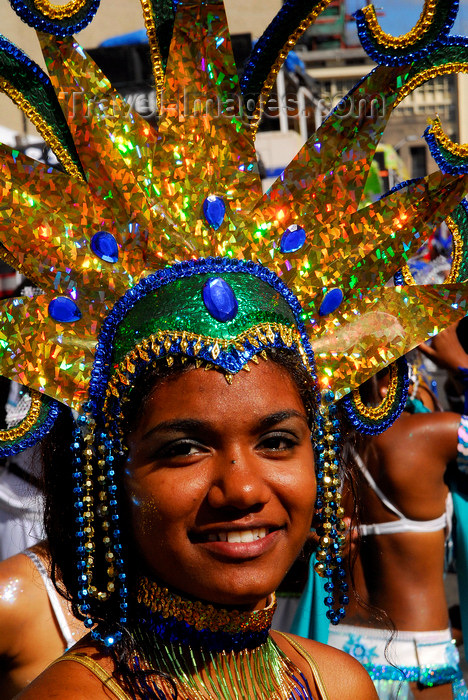 trinidad-tobago151: Port of Spain, Trinidad and Tobago: girl with elaborate head gear for carnival - blue gems - photo by E.Petitalot - (c) Travel-Images.com - Stock Photography agency - Image Bank