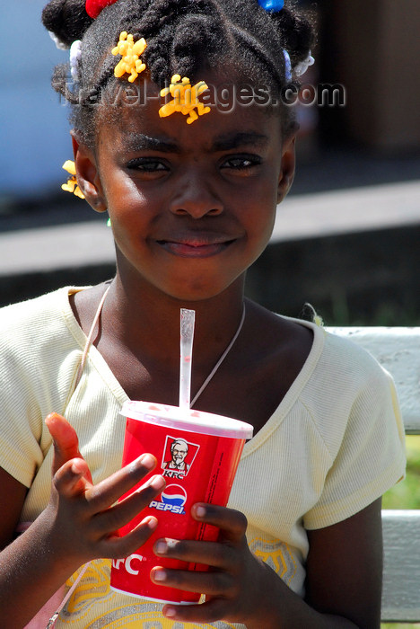 trinidad-tobago49: Port of Spain, Trinidad: a girl drinks a soda - photo by E.Petitalot - (c) Travel-Images.com - Stock Photography agency - Image Bank