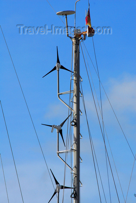trinidad-tobago54: Port of Spain, Trinidad: wind generators on the mast of a sailing boat - photo by E.Petitalot - (c) Travel-Images.com - Stock Photography agency - Image Bank
