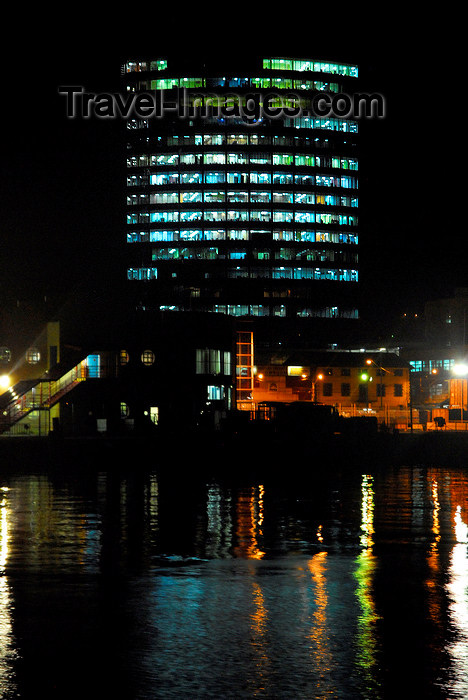 trinidad-tobago55: Port of Spain, Trinidad: office tower by the harbour - nocturnal image  - photo by E.Petitalot - (c) Travel-Images.com - Stock Photography agency - Image Bank