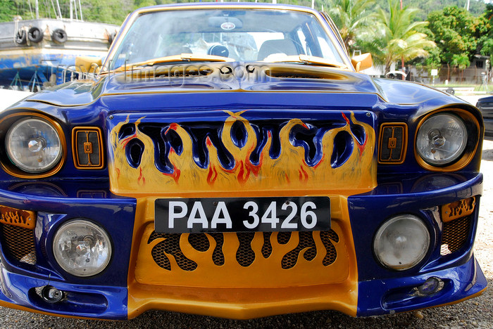 trinidad-tobago67: Port of Spain, Trinidad: tunning car - flames - photo by E.Petitalot - (c) Travel-Images.com - Stock Photography agency - Image Bank