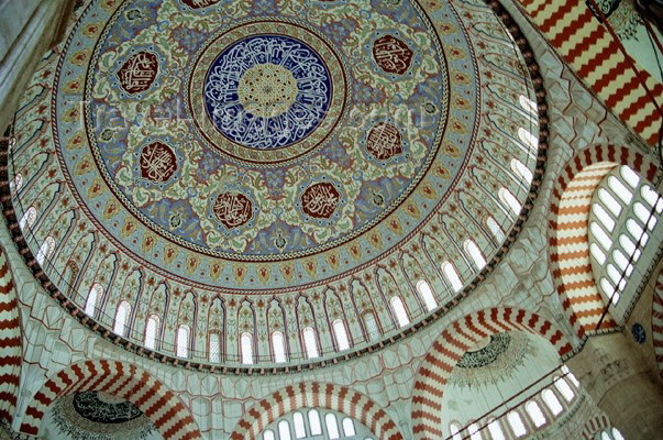 turkey100: Turkey - Edirne (Edirne province - European Turkey - Thrace): Suleyman mosque - dome interior - photo by J.Kaman - (c) Travel-Images.com - Stock Photography agency - Image Bank