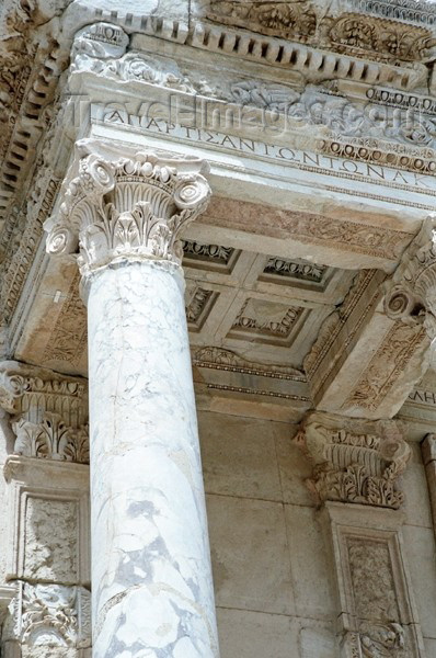 turkey105: Turkey - Efes: Library of Proconsul Celsus Palemaeanus - detail - column and ceiling - photo by J.Kaman - (c) Travel-Images.com - Stock Photography agency - Image Bank