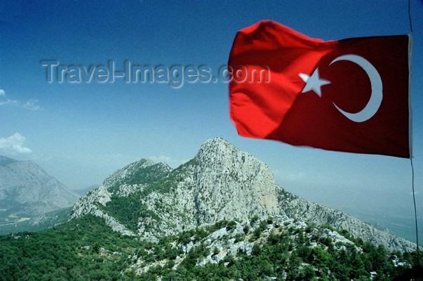 turkey110: Turkey - Termessos / Gulluk Dagi Termessos / Mt. Gulluk - Antalya Province - Mediterranean region: the mountains and the Islamic flag of non confessional Turkey - photo by J.Kaman - (c) Travel-Images.com - Stock Photography agency - Image Bank