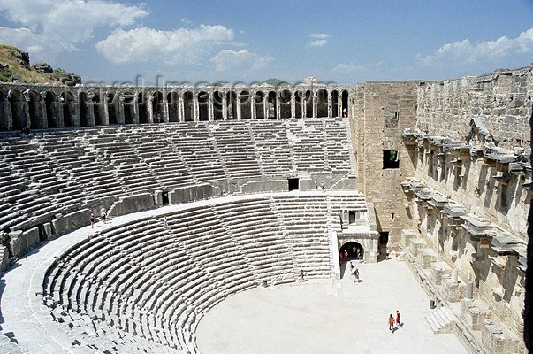 turkey127: Aspend / Aspendos - Antalya province, Mediterranean region, Turkey: Roman theatre designed by the Greek architect Zenon, under Marcus Aurelius - photo by J.Kaman - (c) Travel-Images.com - Stock Photography agency - Image Bank