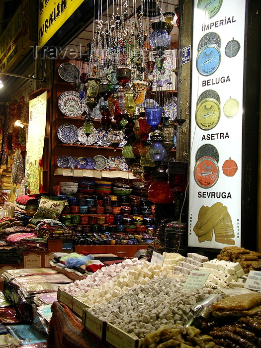 turkey139: Turkey - Istanbul / Constantinople / IST: grand bazaar - caviar explained - photo by R.Wallace - (c) Travel-Images.com - Stock Photography agency - Image Bank