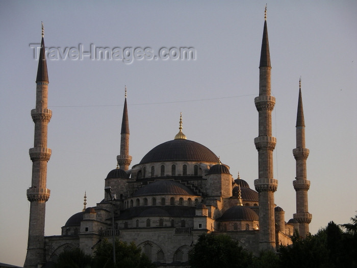 turkey140: Turkey - Istanbul / Constantinople / IST: the Blue Mosque - sunset - photo by R.Wallace - (c) Travel-Images.com - Stock Photography agency - Image Bank
