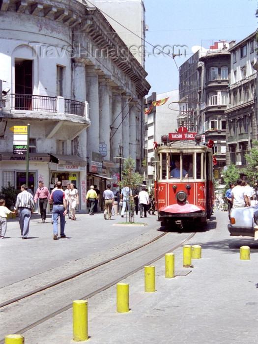 turkey160: Istanbul, Turkey: streetcar / tram in Galatasaray - photo by M.Bergsma - (c) Travel-Images.com - Stock Photography agency - Image Bank