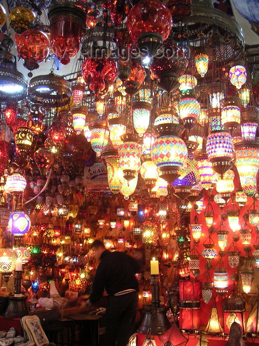 turkey170: Istanbul, Turkey: colourful Turkish lamps for sale in the Grand Bazaar - photo by A.Kilroy - (c) Travel-Images.com - Stock Photography agency - Image Bank